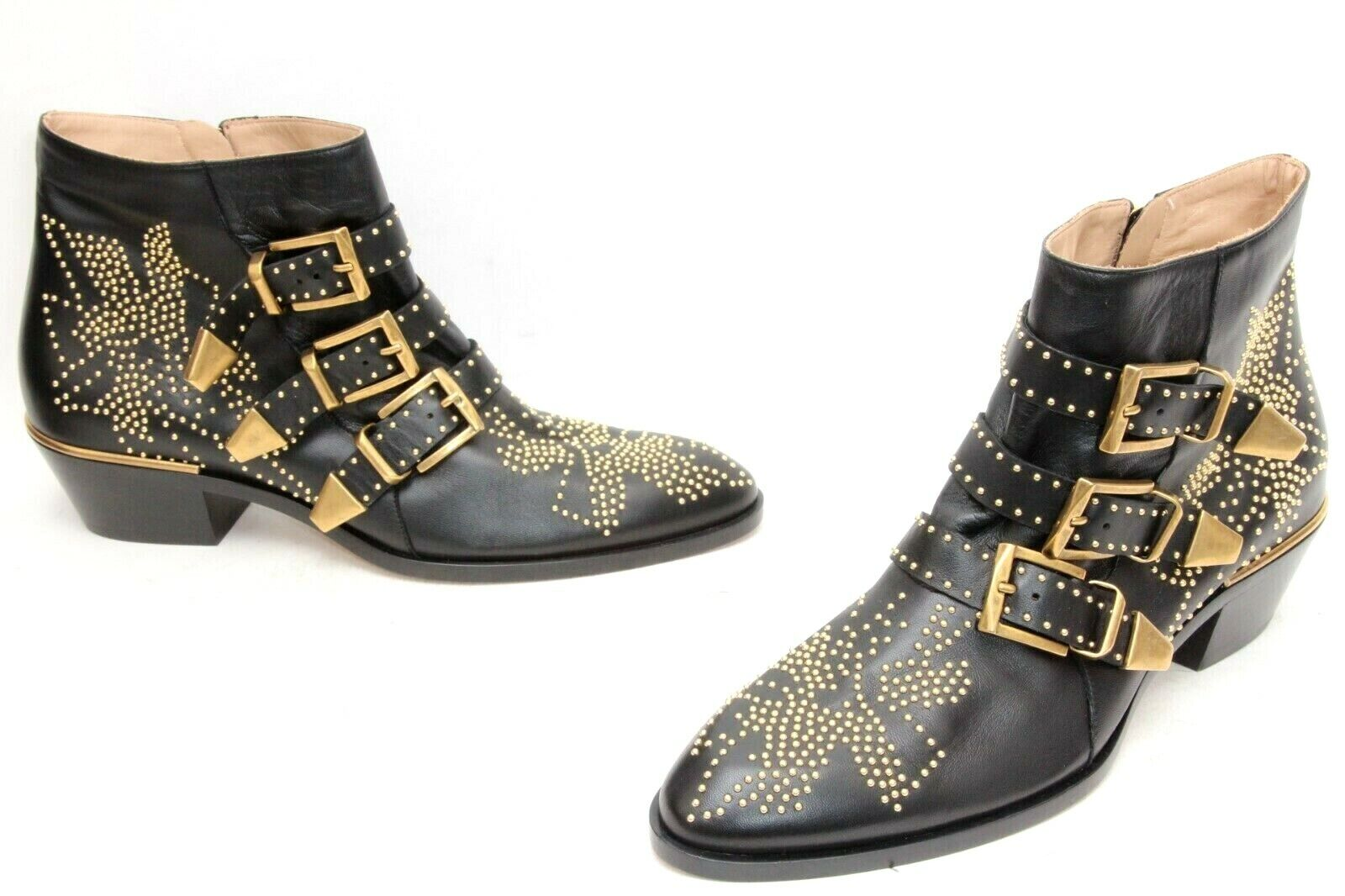 Chloe Sussana Booties Studded Ankle Lambskin Leather Boots Sz 39 US 9