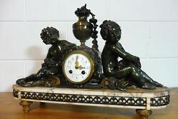 Antique French Bronze Marbel Mantel Clock Table Clock