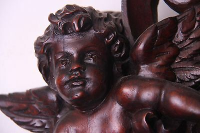 19C Venetian Carved Walnut Fan/Winged Cherub/Gargoyle Fantasy Mirror