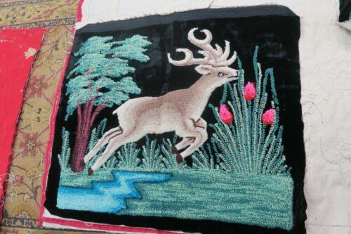 Vintage Handmade Punch Needle Embroidery Tapestry on Black Velvet Deer Stag