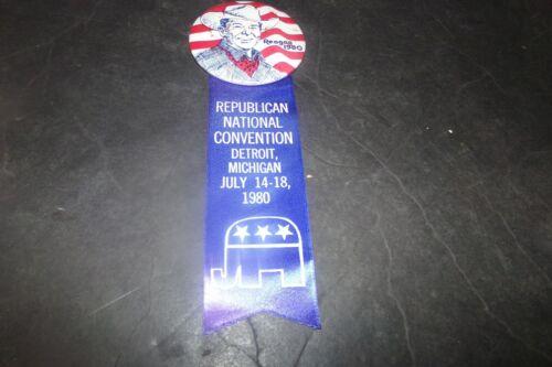 Vintage Ronald Reagan Campaign Pin & Ribbon RNC Detroit Reagan in Cowboy Hat 80