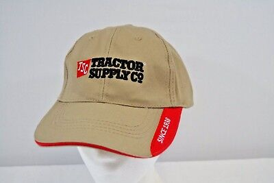 Tractor Supply Co Tan Red Baseball Cap Adjustable Back