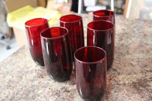 6 VINTAGE DEPRESSION ERA RUBY RED WATER BEVERAGE GLASSES