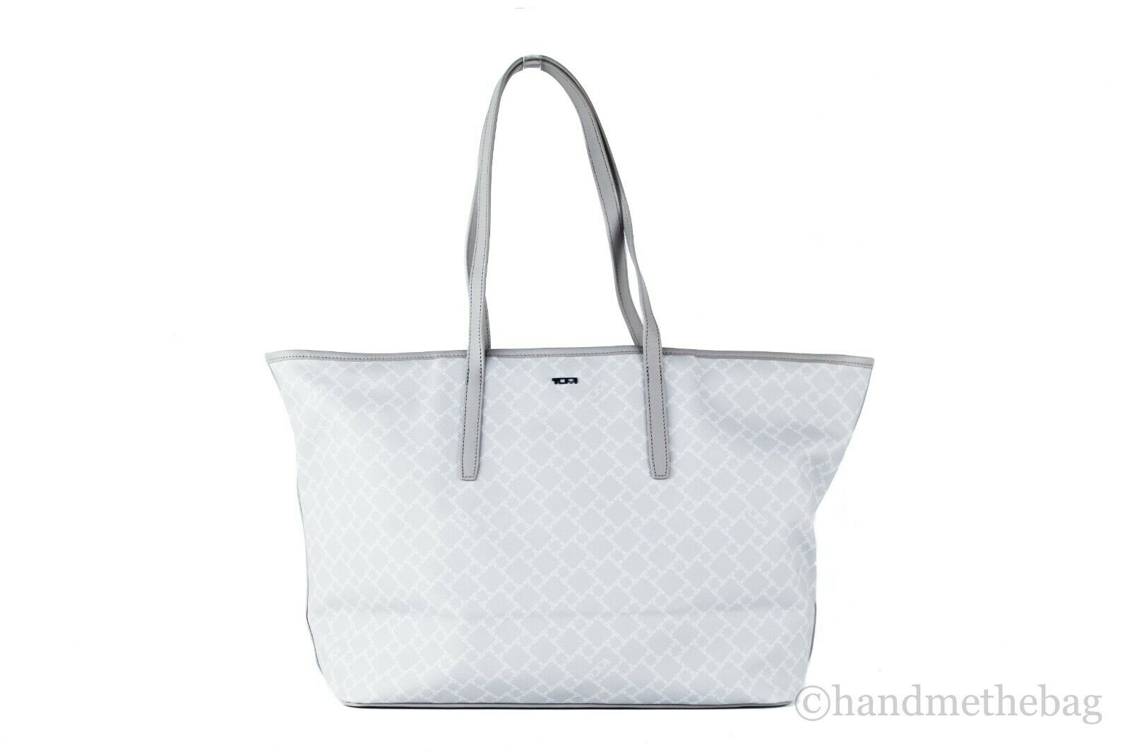 Tumi Everyday Large Coated Canvas Leather Shoulder Tote Bag Carryall Handbag Gray