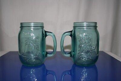 Lot of 2 1976 Jack in the Box Liberty Mug Bicentennial Aqua Blue Glass Mason Jar