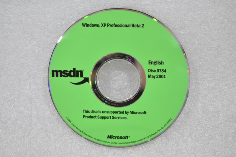 WINDOWS XP PROFESSIONAL BETA 2 MSDN IN ENGLISH P/N X08-20973