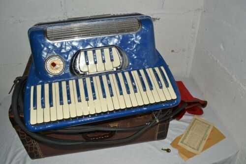 Vintage Lo Duca Bros Accordion Petite Grande with Case Blue Pearl