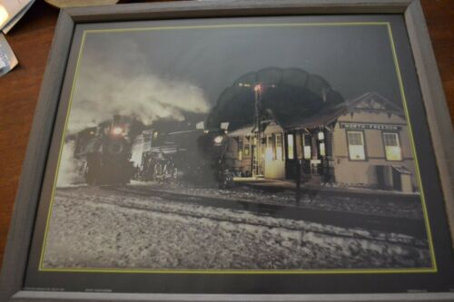 RUSTIC FRAMED PHOTO MIDNIGHT TRAIN STATION SCENE NORTH FREEDOM MUSEUM WISCONSIN