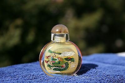 """Chinese Inside Painting Snuff Bottle Two Dueling Dragons Signed """"Jane"""""""