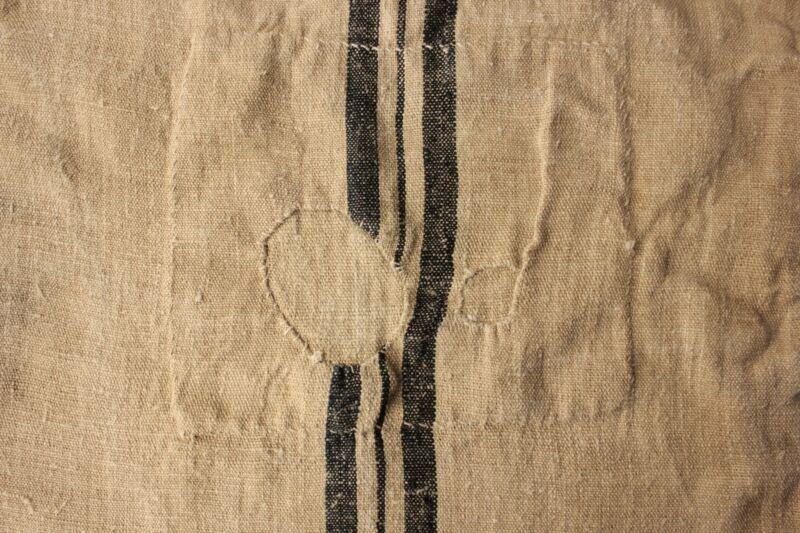 GRAIN SACK vintage grainsack linen PRIMITIVE patched LOVELY blue stripes rustic