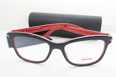 Prada Woman's Black Eyeglasses with Case 53mm VPR 10R 7I6-1O1