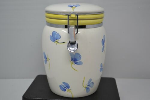 Vintage Inspirado Stonelite Seattle USA Canister Cookie Jar Blue Yellow Floral