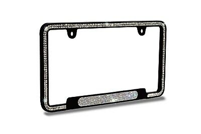 Luxury White crystal Black License Plate Frame+White Oval Crystal For BMW BENZ - Oval License Plate