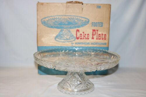 "Anchor Hocking Star of David Early American Prescut 13"" Cake Plate w/box"