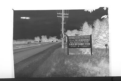 Highway Construction Signs - (2) B&W Press Photo Negative Road Construction Painting New Highway Signs T5183