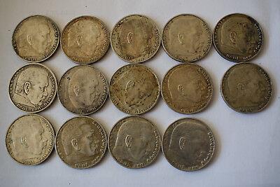 14 x 2 Mark, Hindenburg, Silber