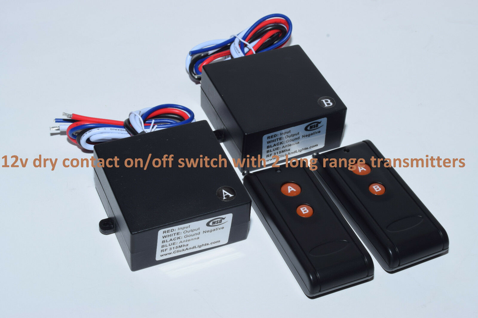Msd Dry Contact 12v 20a 2ch On/off Relay Switch 2 Long Ra...