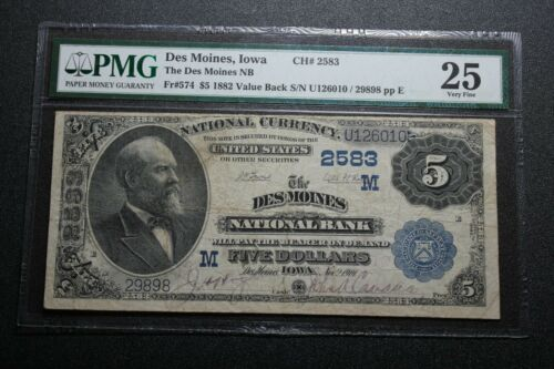 1882 $5 Des Moines, Iowa National Bank Note Fr. 574 PMG 25 (06004)