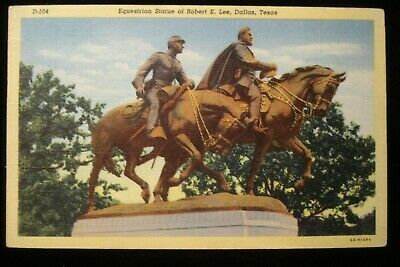 DALLAS TX ROBERT E. LEE CONFEDERATE GENERAL EQUESTRIAN STATUE, MONUMENT VTG PC