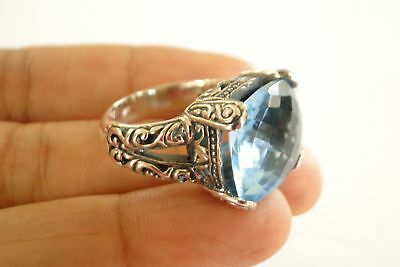 Ornate Blue Topaz Solitaire 925 Sterling Silver Ring Size 6 7 8 8.75 9