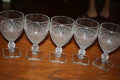 "SET OF 5 VINTAGE CAMBRIDGE PRESSED GLASS ""MOUNT VERNON"" 9 OZ"