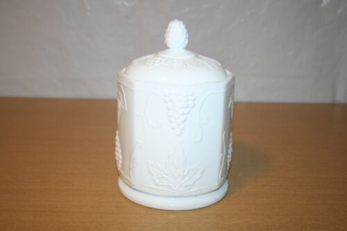 Colony Milk Glass Harvest Grape Biscuit Cookie Jar with Lid