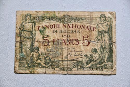 Belgium 5 Franc 1914  Banknote P 75a