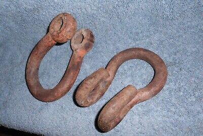 2 Vintage Rustic Iron Farm Implement Hitch Heavy Duty Clevis Clevises Repurpose