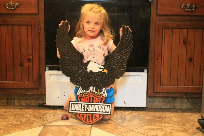 Harley Davidson Spread Eagle Wood Sign. 28x22 With custom epoxy inlays