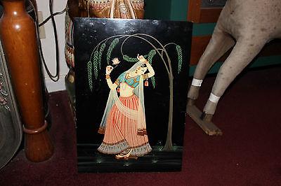 Vintage India Hinduism Acrylic Painting On Wood Board-Woman Dancing Wardrobe