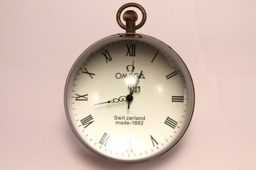 VINTAGE CRYSTAL BALL GLASS DESK CLOCK PAPERWEIGHT