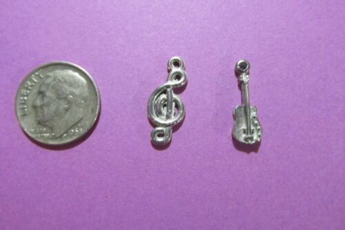20  Pewter Guitar And G Clef Charms