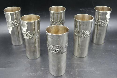 Italian Sterling Silver High Glass Tumblers Dahlia Flower by Brandimarte Firenze