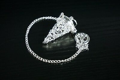 SE7EN CHAKRA Silver Om Cage Small Pendulum for Dowsing & Divination