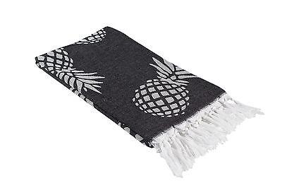 Black and White Pineapple Print Turkish Peshtemal Towel for