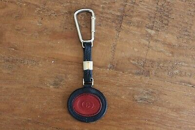 Vintage Gucci Leather Key Ring Keychain FOB Red Navy Blue