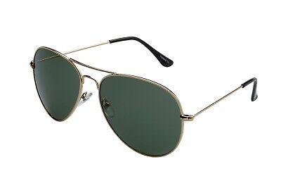 """Ravs Pilotenbrille Aviator Sonnenbrille Gold  """"TOP GUN """" XXL Gläser Oliv"""