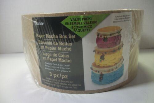 "Darice paper mache box set 4"",5"",6"" boxes w/lids"