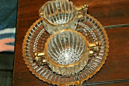 Vintage Jeannette  Depression Glass Plate with Handles + Sugar Bowl & Creamer