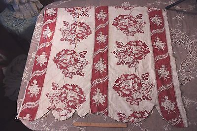 Beautiful Antique Hand Blocked 18thC Toile de Jouy Quilted Linen Fabric
