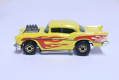 HOT WHEELS '57 CHEVY BEL AIR VERY NICE YELLOW W/ RED FLAMES GOLD HOT ONES