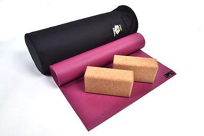 Yoga Studio Eco Kit Bag Kit 2 Cork Bricks 6mm Non Slip Yoga Mat Studio Kit Bag