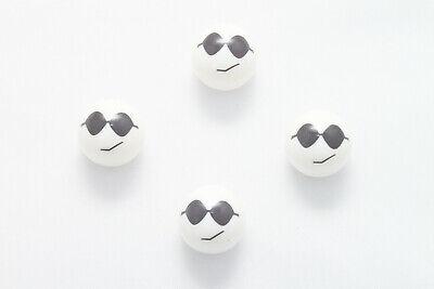 4x Gesicht Ventilkappen Cool mit Sonnenbrille  Ventilkappe Fahrrad Auto Weiß