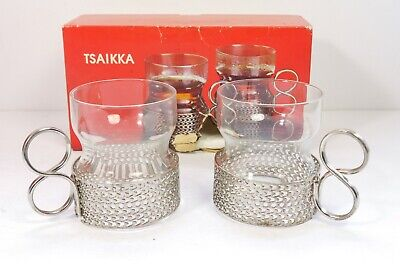 Two 2X Iittala Tsaikka Finland Tea Glasses Mid Century Sarpaneva Design Boxed