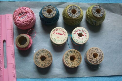 Vtg Lot Wooden Spool Silk Cotton Embroidery Sewing Thread