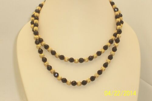 Vintage Black Faceted Glass & Gold Tone Bead Double Strand Necklace