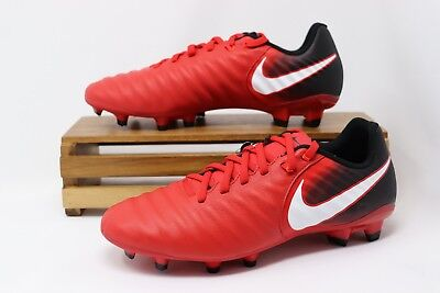 Nike Tiempo Ligera IV FG Soccer Cleats Black University Red 897744-616 Men's (Nike Mens Tiempo Ligera Iv Fg Soccer Cleats)