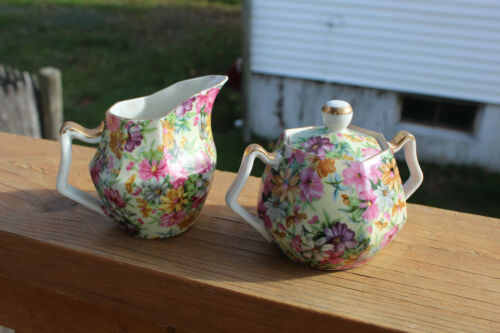 Creamer and Sugar Bowl Set with Gold Trim Japan Floral