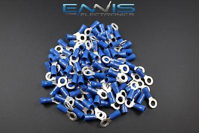 14-16 Gauge Vinyl Ring 10 Connector 25 Pk Blue Crimp Terminal Awg Ga Car Suv