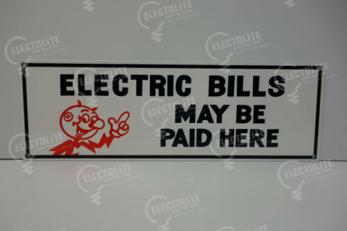 Reddy Kilowatt Electric BILLS MAY BE PAID HERE DIE CUT SIGN ELECTRICIAN GIFT